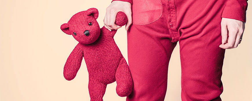 boy with red teddy bear